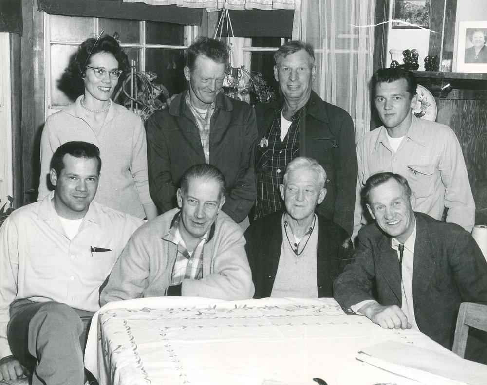 Katherine Ostrosky, Harry Shawback Sr., Ed Johnson and Melvin Monsen, Jay Hammond, Bob Hadfield, Albert Davey and Gunnar Berggren.