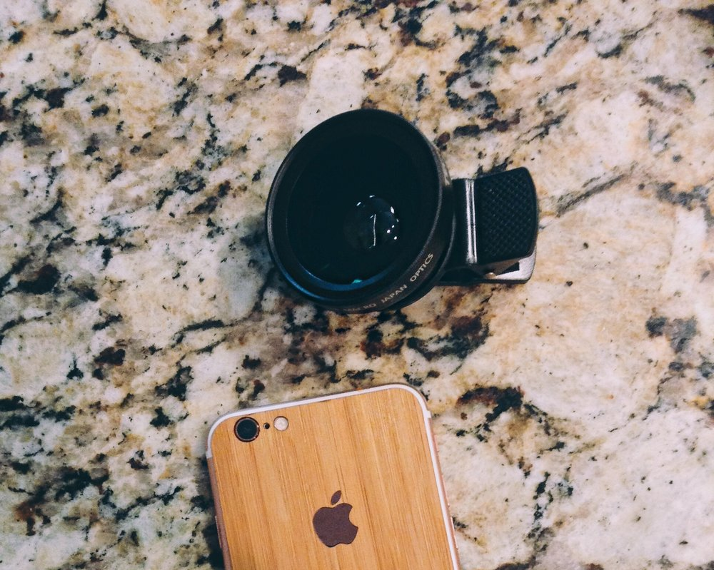 Image taken by me. iPhone cover from  Slickwraps . Clip on lens from Amazon.