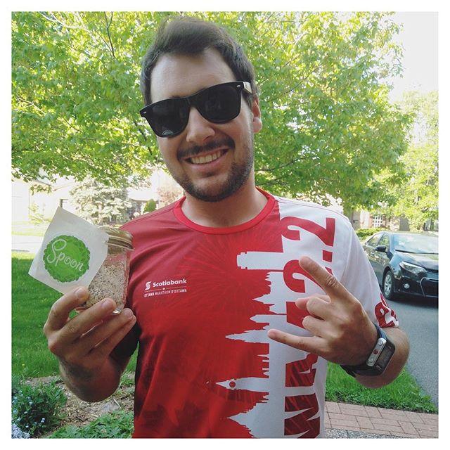 Oli avant son 42.2 km 🤘🏼 #SPKrocks #GrabYourSpoon