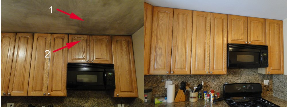 After Deep (proprietary) Finish Cleaning, Color Matching/enhancement,  Finish And Sheen Restoration And New Hardware, We Were Able To Save This  Kitchen And ...