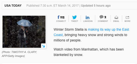 NYC winter storm warning - March 14, 2017