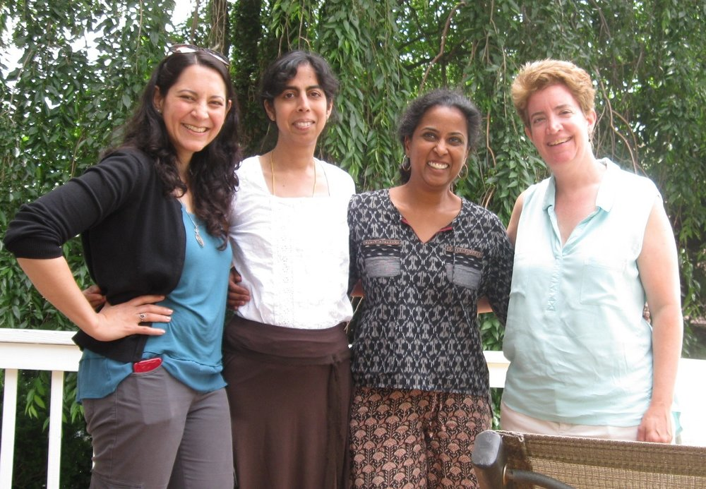 With authors (L-R) Veera Hiranandani, Sheela Chari, and Sayantani DasGupta in New York.