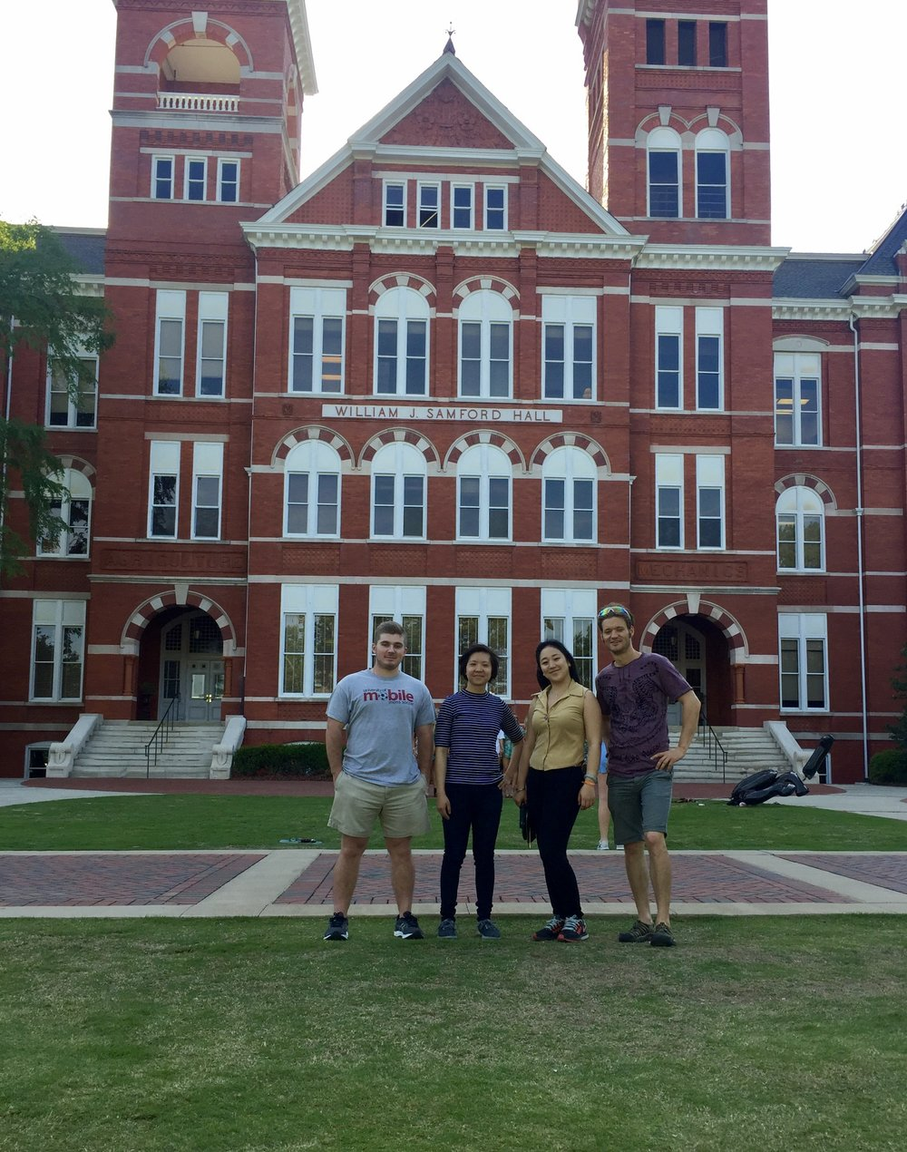 Left to right: DJ, Janet, Evadora, Karl. Outside Auburn University's Samford Hall.