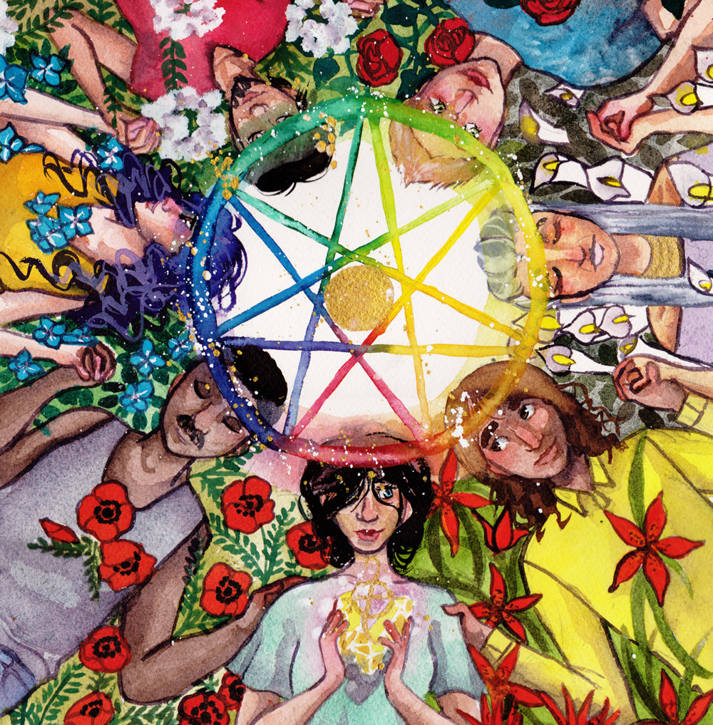 [image description: overhead view of a circle of people of many different skin tones, hair colours, and styles lying on their backs holding hands around a rainbow seven-pointed pentacle. flowers of various types & colours grow around & between them, and the person at the centre-bottom holds golden light between their hands. artwork is the lovers card from  noel arthur heimpel 's  numinous tarot , used with permission.]