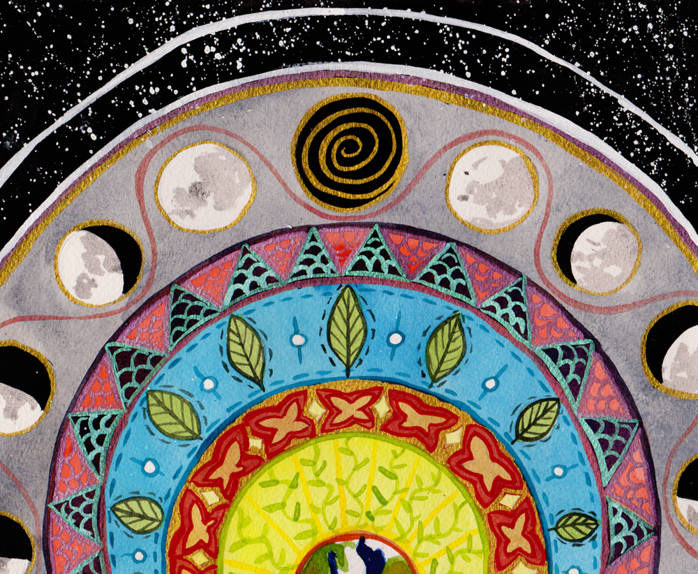 [image description: a sliver of a half circle of the earth is visible at the bottom, then radiating concentric circles of different patterns & designs, with the last circle showing the cycles of the moon and then a background of black with white dots like stars. artwork is the world card from  noel arthur heimpel 's  numinous tarot , used with permission.]