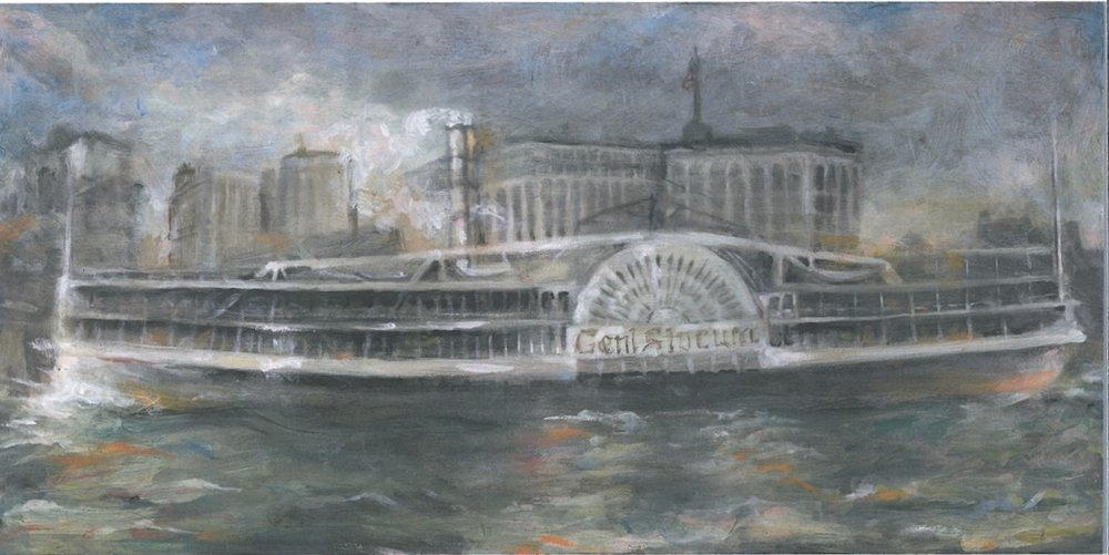 Painting of the General Slocum by Easton artist Cindy Vojnovic.