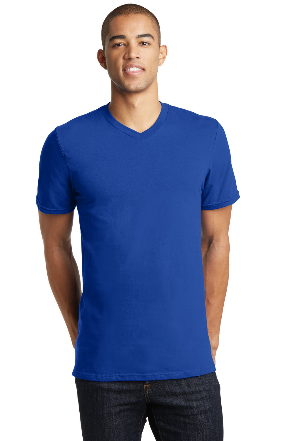 Men's V-Neck Shirt - Royal Blue (shown), Black, Charcoal, Heather Gray, White, Pink | $10
