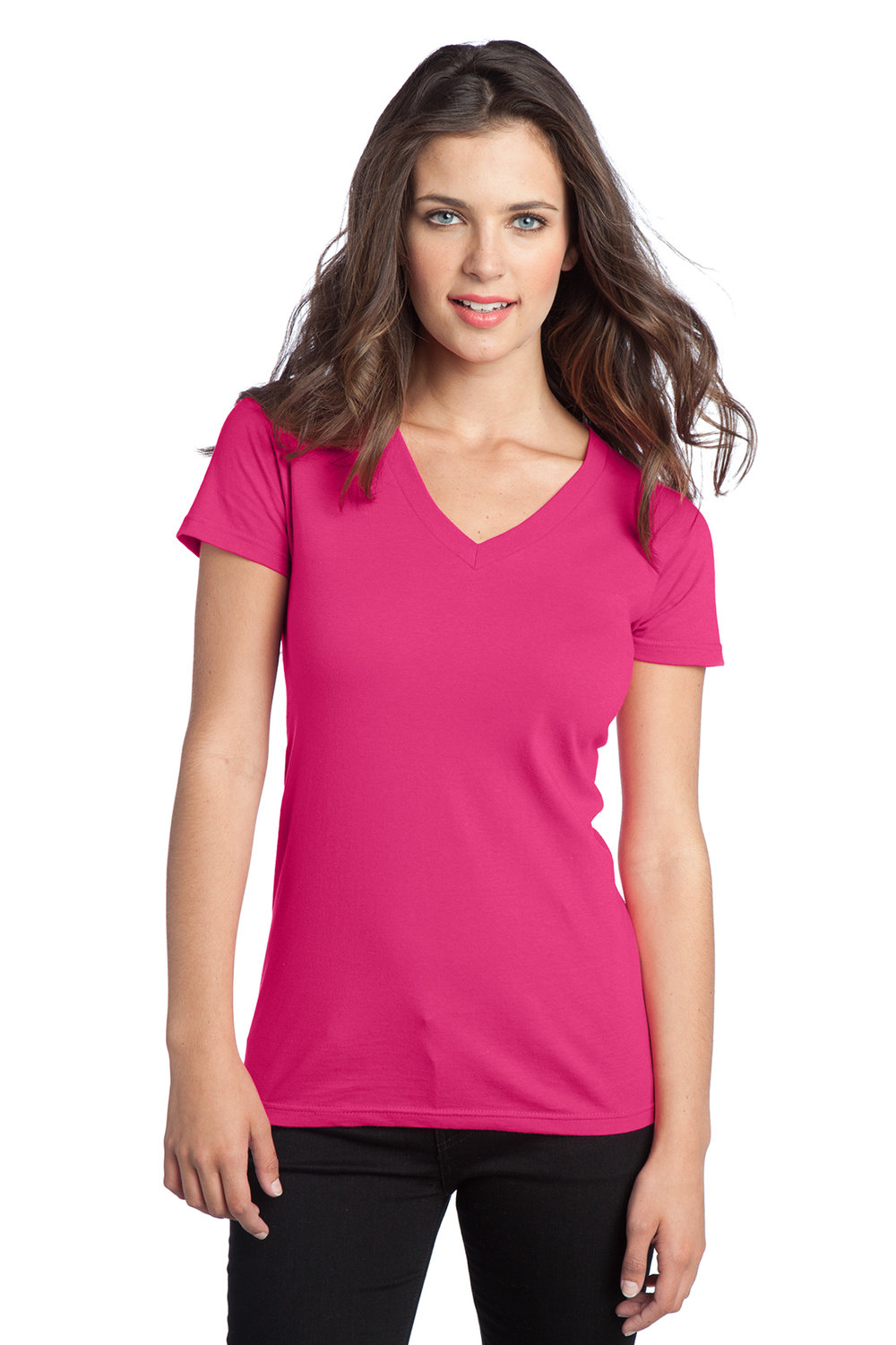 Women's V-Neck Shirt  - Fuchsia Pink (shown), Royal Blue, Charcoal, Heather Gray, White, Black | $10