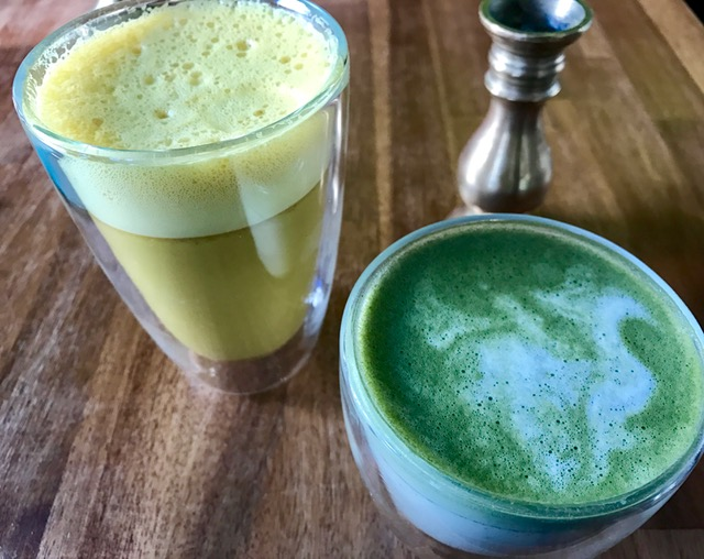 golden milk and matcha latte