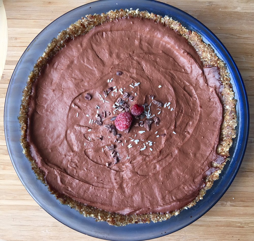 Chocolate Raspberry Pie - gluten free, vegan, grain free