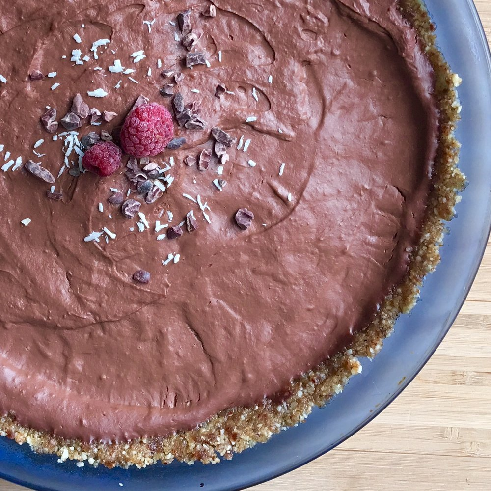 Raspberry chocolate pie - gluten free, vegan, grain free