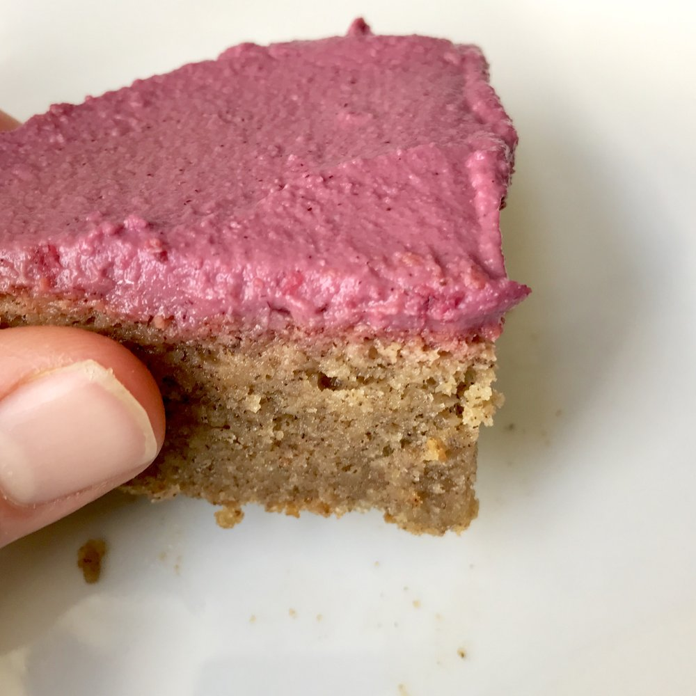 Pink Peppermint Frosted Blondies - gluten free, vegan, paleo