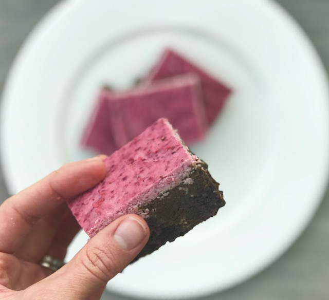 Protein Brownies with Cranberry Cream Frosting - Welli by Kristine - Grain Free, Gluten Free, Vegan, Paleo, No Added Sugar