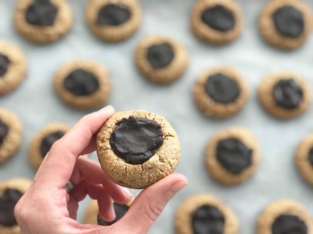 Chocolate Hazelnut Thumbprint cookies - getwelli.com - grain free, vegan, paleo, no sugar added