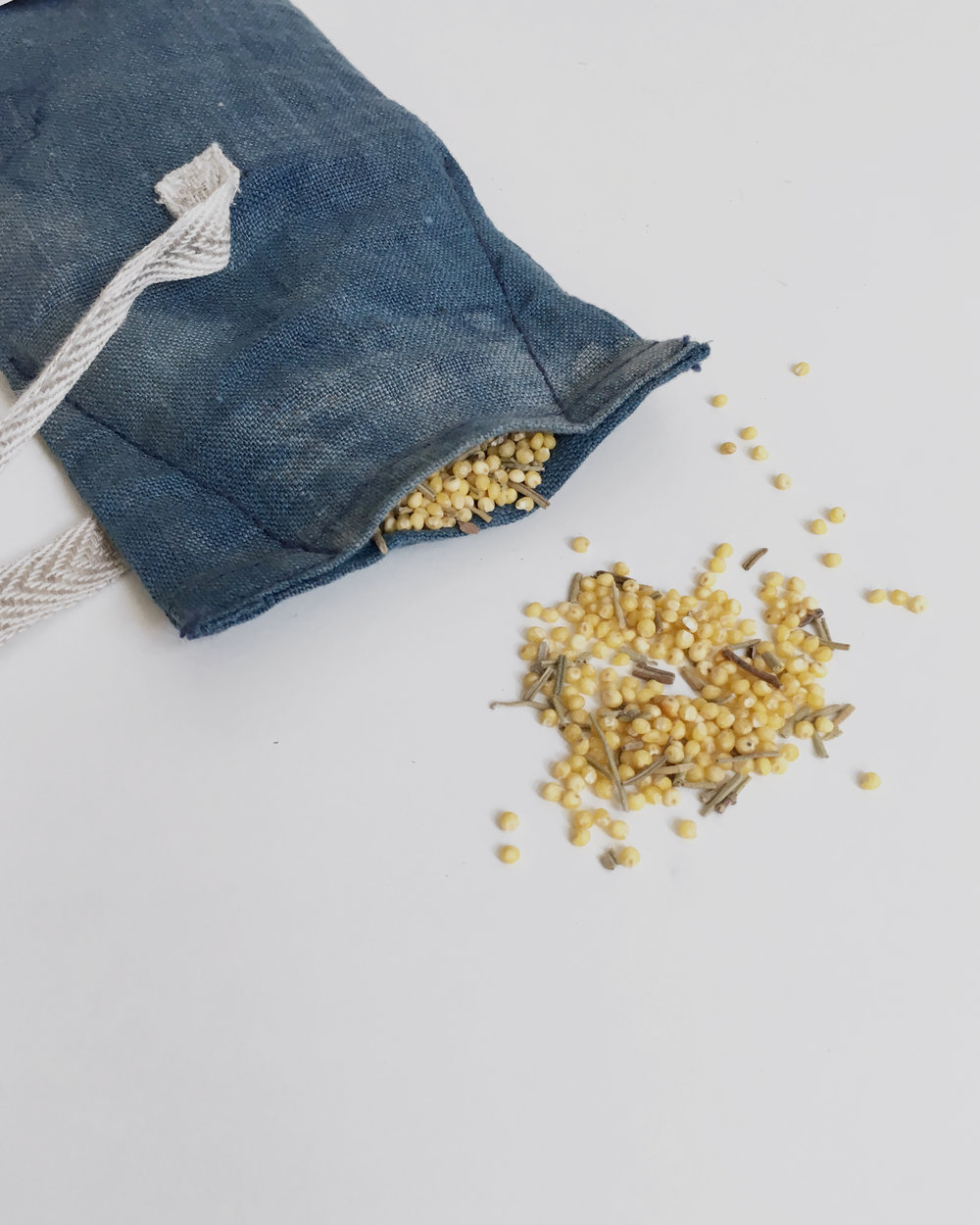 healing eye pillow with millet and rosemary
