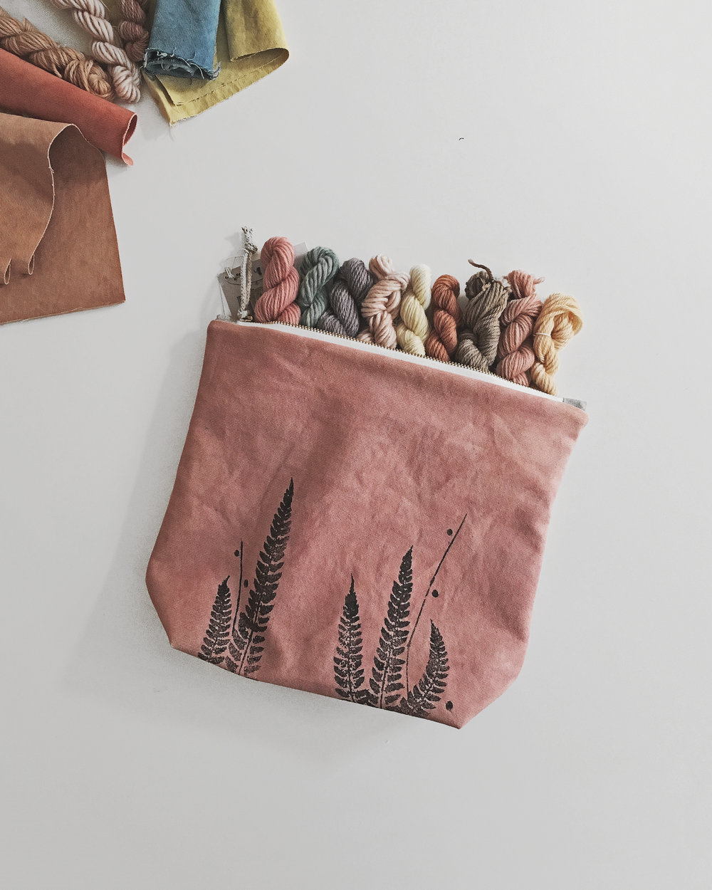 These plant dyed vegan project bags were developed by knitters themselves