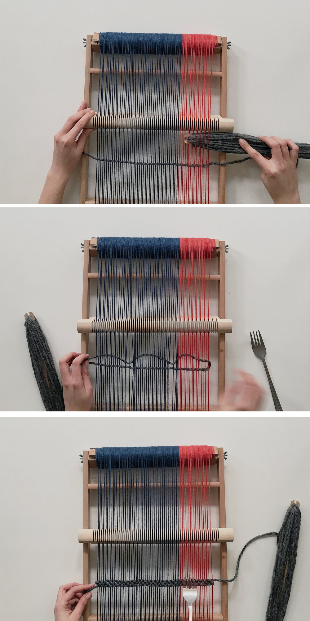 How to weave a scarf on a frame loom. Follow this beginner diy tutorial and learn an easy trick to make your warps long enough. #weaving #frameloom #tutorial #diy