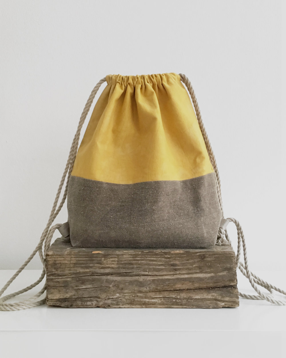 Marigold dyed drawstring backpack - bright yellow straight from plants!
