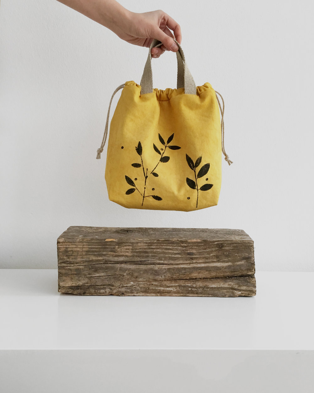 Sunshine yellow canvas bag - dyed with marigold flowers - for knitters and makers