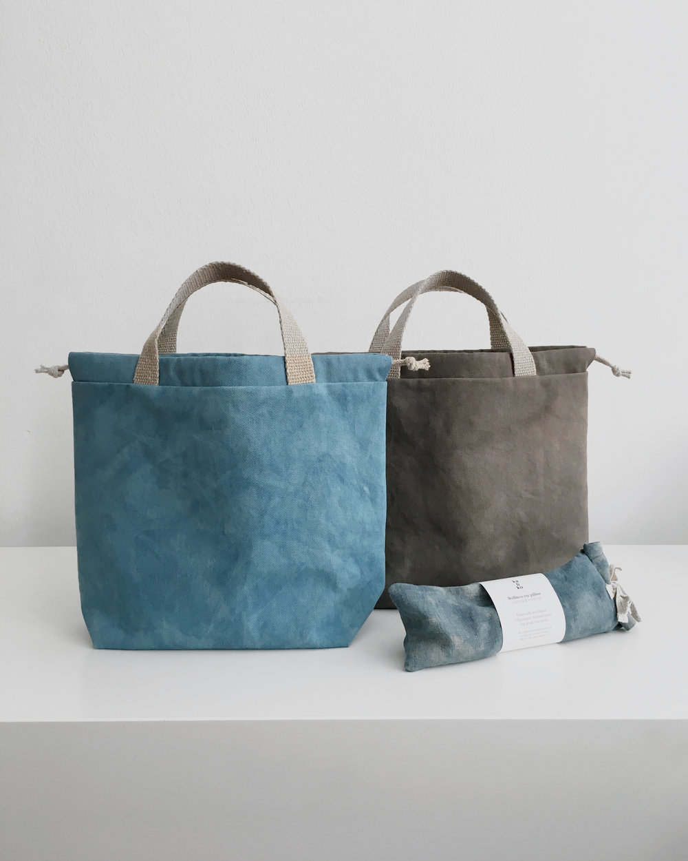 Woad dyed bags and eye pillows and acorns dyed bags available online #eyepillow #thefuturekept #bags #slowfashion