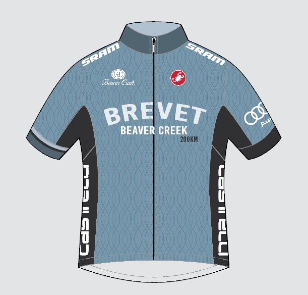 The Official Brevet Beaver Creek 2017 Commemorative Jersey from Castelli. Matching kit items include bib shorts, wind vest and long-sleeve version.