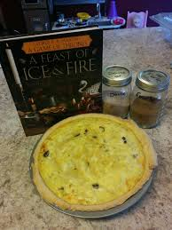 """Onion pie, Westeros style from the official """" Ice & Fire """" cookbook."""