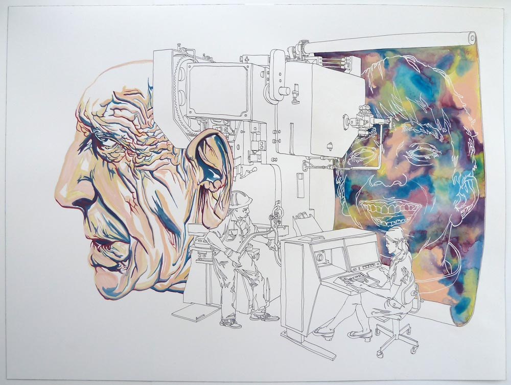 """Precision Printing"" Pen and watercolor on paper, 18""x24"""