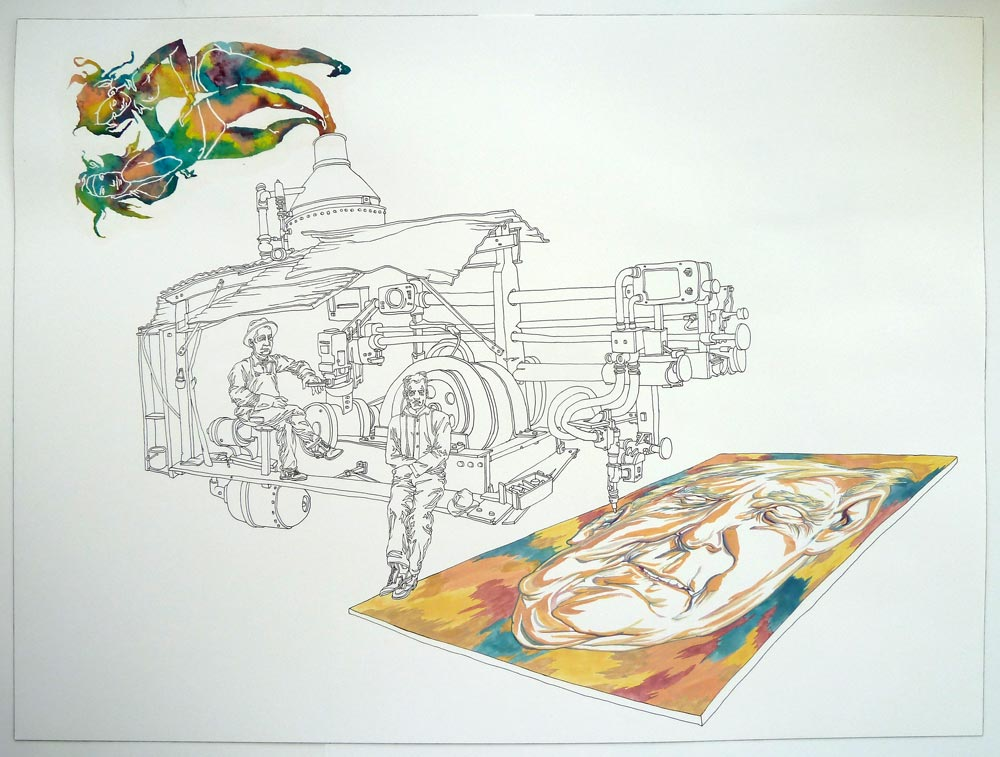 """Milling Machine"" Pen and watercolor on paper, 18""x24"""