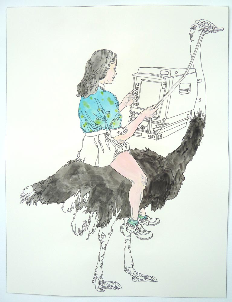 """Ostrich Operator"" Pen and watercolor on paper, 11""x14"""