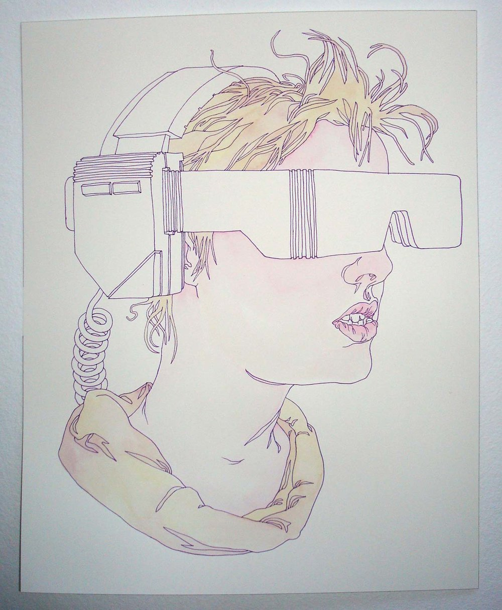 """TeleVisor"" Pen and watercolor on paper, 11""x14"""