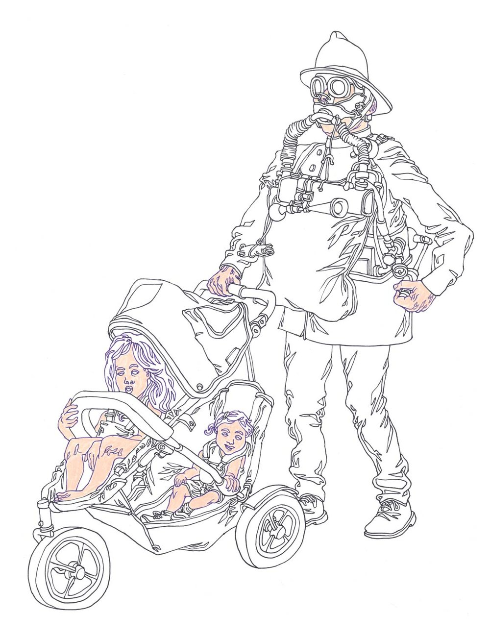 """Vintage Fireman with DoppleStroller"" Pen and colored pencil on paper"