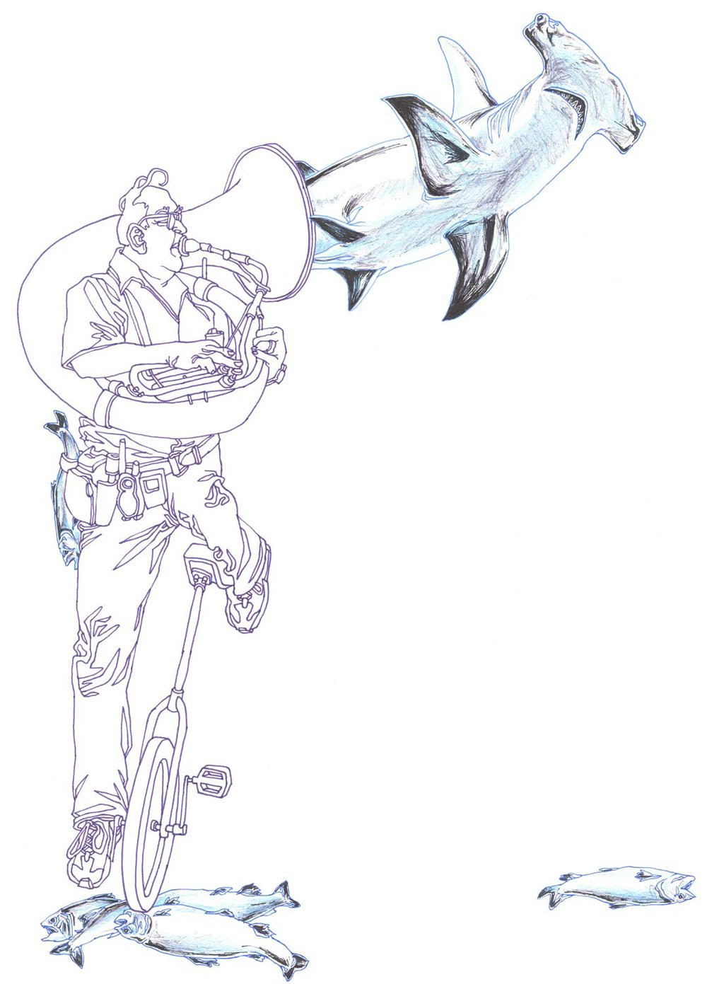 """UniCycling Sousaphonist with Hammerhead Shark"" Pen, ballpoint, and colored pencil on paper"