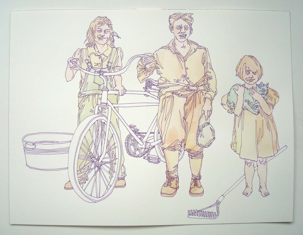 """First Bike"" pen and watercolor on paper, 11""x14"""