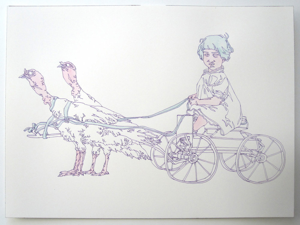 """Turkey Ride"" pen and watercolor on paper, 11""x14"""