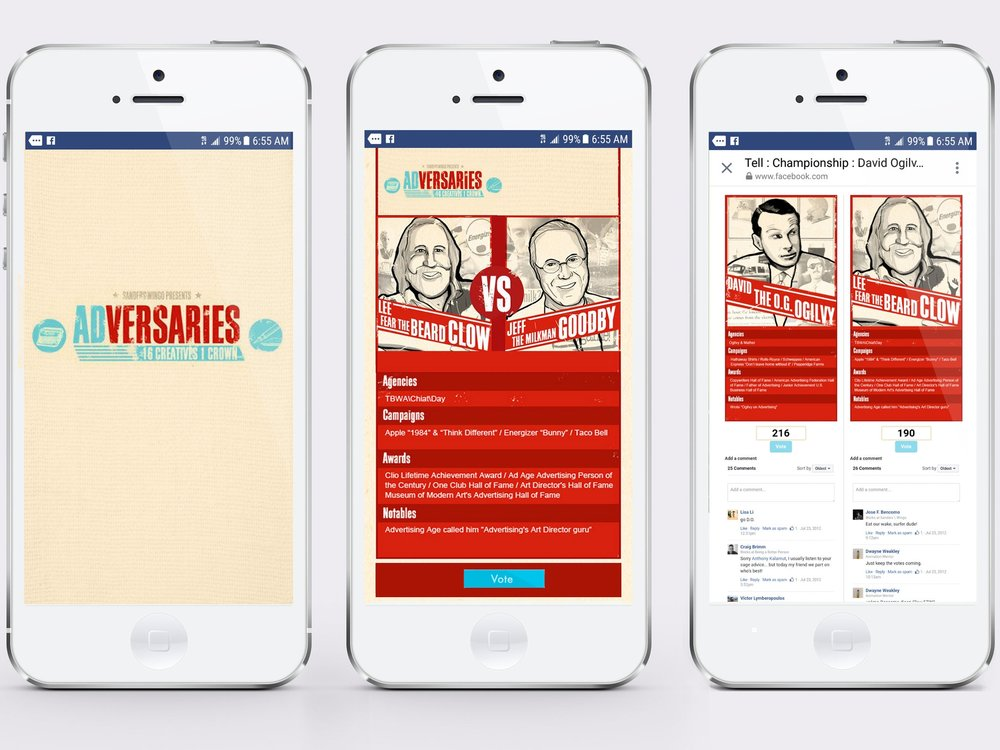 This Facebook App let ad nerds vote for their favorite advertising legend, bracket style. Sixteen creatives. One crown.