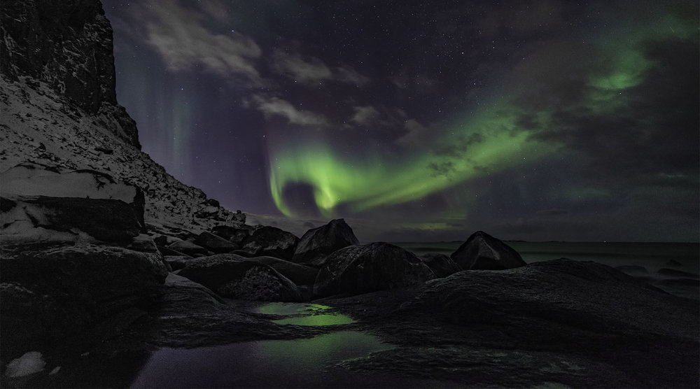 Northern Lights from Uttakleiv Beach - Lofoten Islands, Norway
