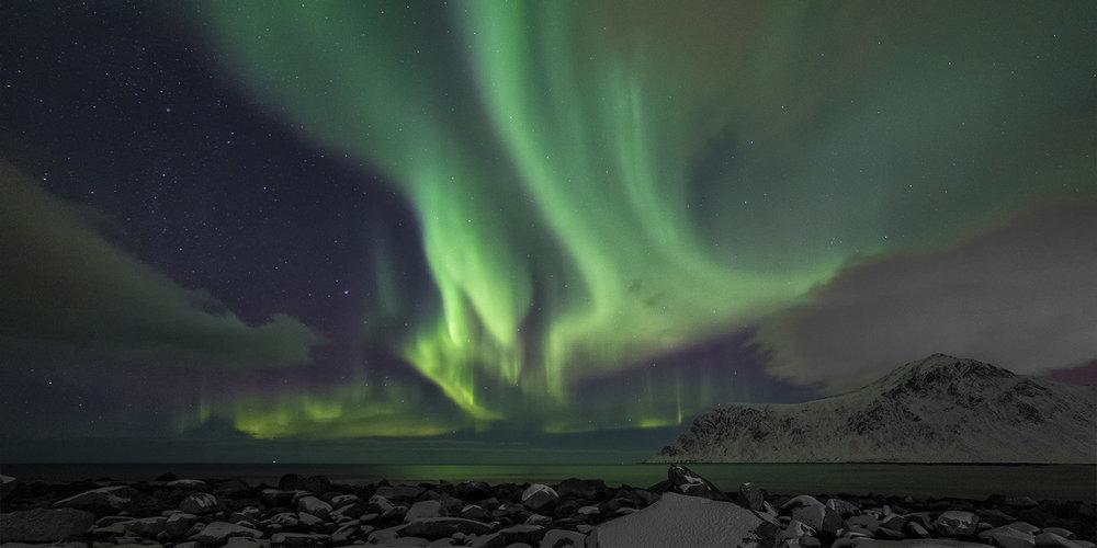 Northern Lights over Flakstad -Lofoten Islands, Norway