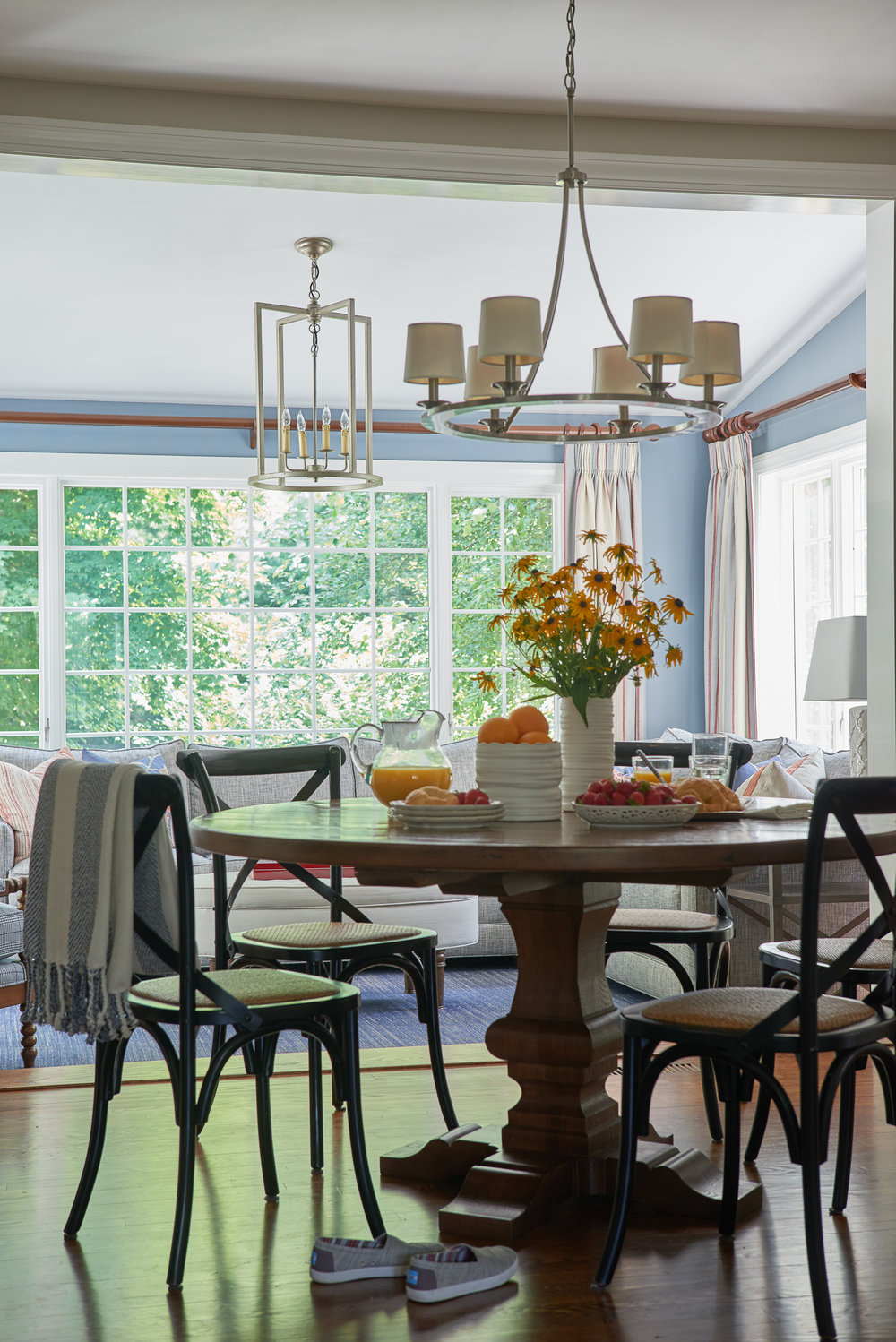 Kitchen table and chandelier