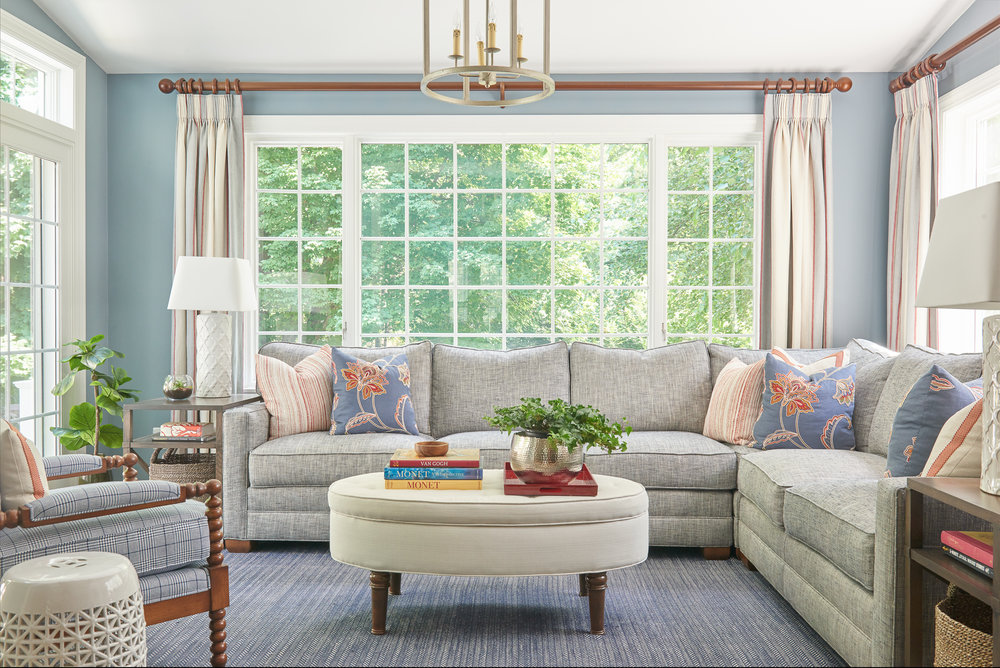 Blue family room with sectional sofa