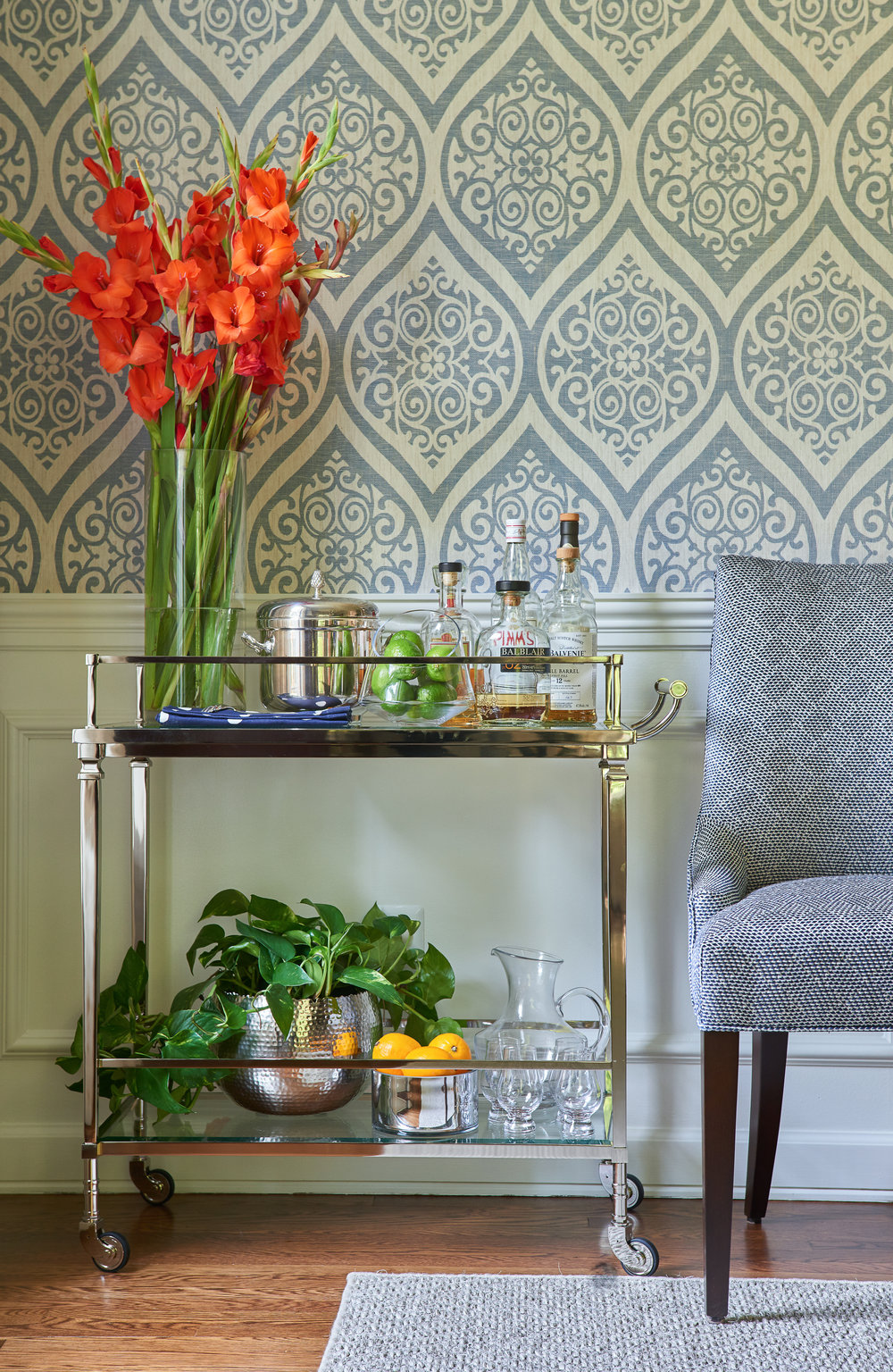 Bar Cart and Geometric Wallpaper