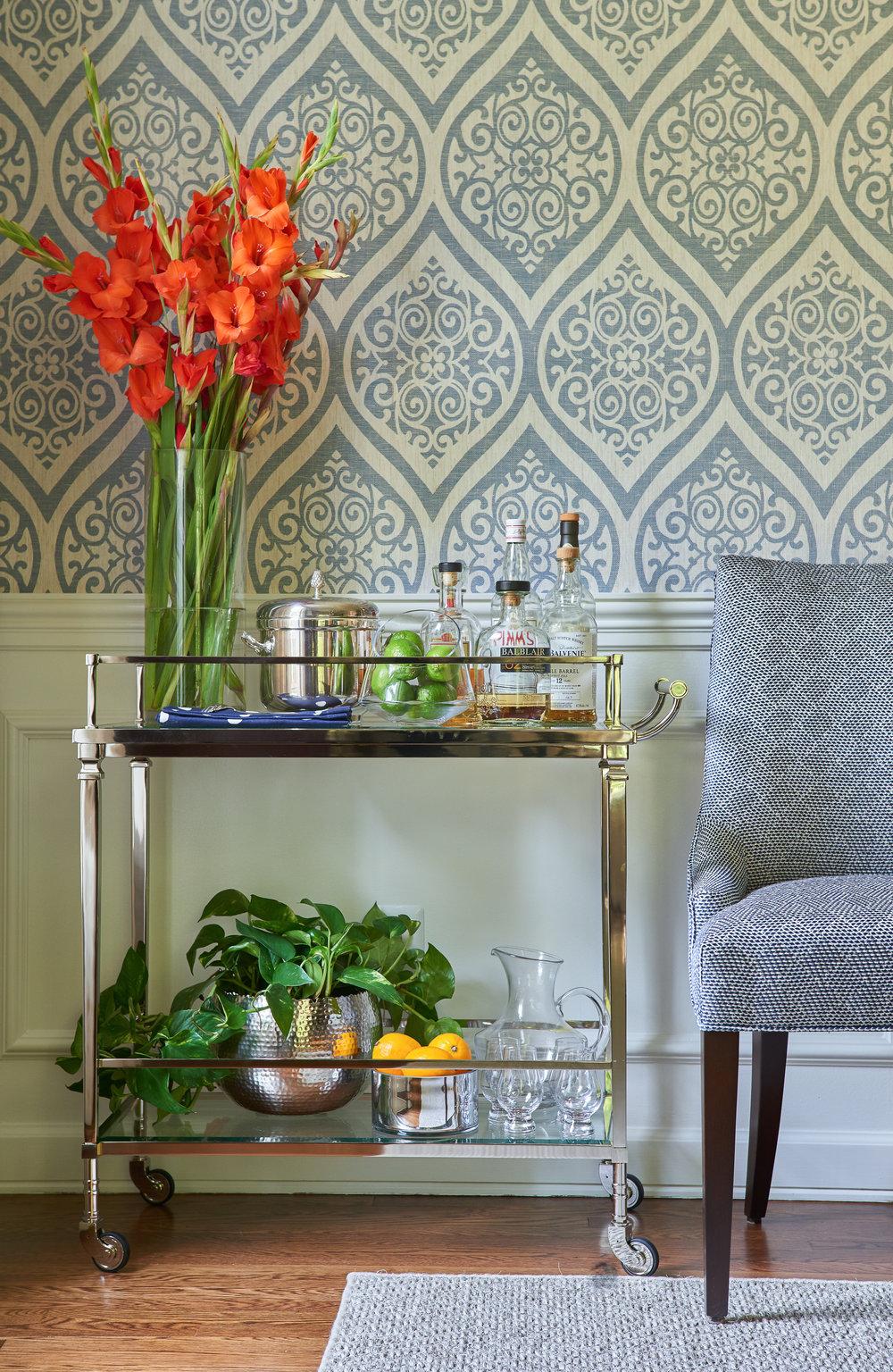 Bar Cart and Geometric Wallpaper