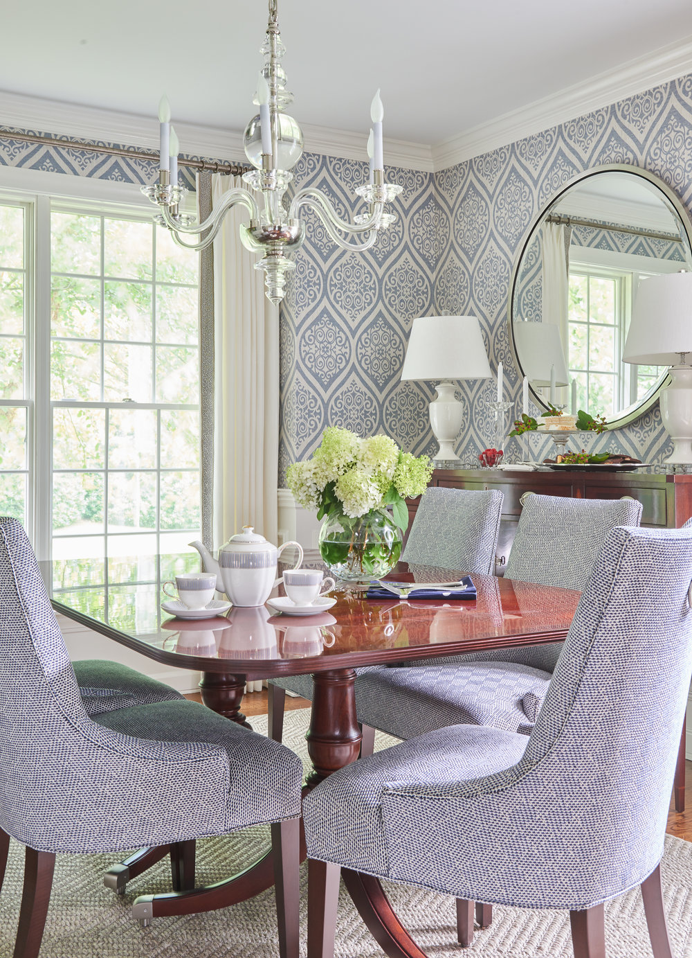 Lighting and Mirrors in Dining Room