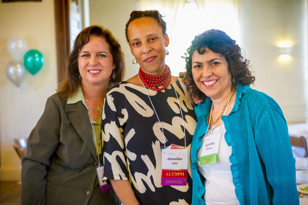 Left to right: Mariana Moore (Council Chair), Jennifer Lyle (Council Secretary and Alumni '12), and Cynthia Chavez (Executive Director).