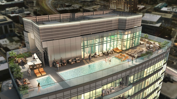 ROOFTOP OASIS - - Panoramic Views from 28th Floor- Rooftop Pool- Hot Tub- Resident Lounge + Kitchen- Ping Pong Table, TVs & More