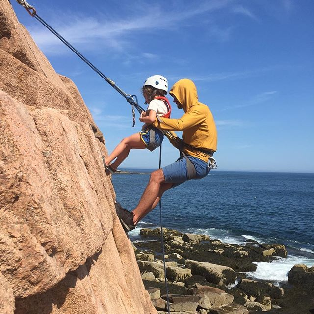 "I wish I started climbing when I was 4 years old! ACS guide @scupper_nong executing a classic ""pickoff"" with this little monkey by the sea! #acadianationalpark #rockclimbing #climbacadia #climbmaine #climbing_pictures_of_instagram #acadia @acadianps"
