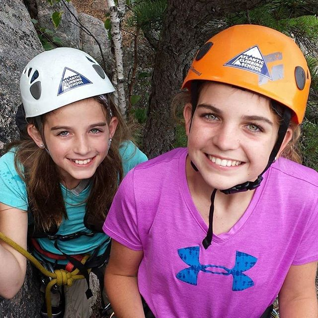 Megan and Anna bot hold their doctorates in rock climbing and a masters degree in bracelet making! Thanks for a wonderful summer ladies! @kerridowdell @scott.ryan @acadianps #rockclimbing #womanwhoclimb #girlsrule #girlsrock #atlanticclimbingschool