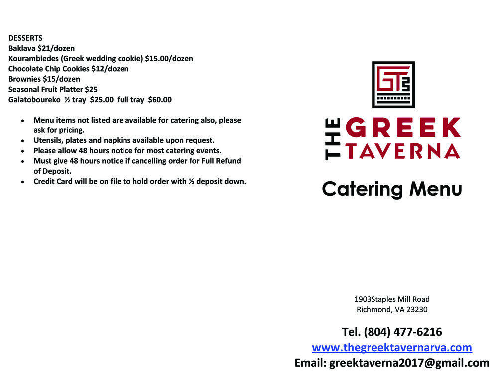 The Greek Taverna Catering Menu Outside