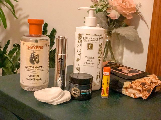 "I wanted to breakdown all of the products in my Sunday Skincare story earlier tonight (saved to my ""beauty"" highlights if you haven't seen them ;-) ). sooooo... ⠀⠀⠀⠀⠀⠀⠀⠀⠀ 1. My favorite part.. HAIRRRRR. Since my toxin removal journey started, I found @dailydryshampoo from an @organicallybecca review and I am never turning back. There is so much product and the recommendation is to use it at night, which totally transformed my hair day-to-day. I also follow it up with Monat Conditioning Dry Shampoo because I want extra clean hair in the AM⠀⠀⠀⠀⠀⠀⠀⠀⠀ 2. I always start with a makeup remover wipe. The ones in the picture I got at a drug store, and never saw again. Yesterday I picked up the CLINIQUE Take The Day Off Micellar Cleansing Towelettes at Ulta and they're pretty great⠀⠀⠀⠀⠀⠀⠀⠀⠀ 3. Witch Hazel was recommended to me by my brow queen @beautybydiana__ when I had a terrible reaction to a facial last year. I personally use it as a toner before cleansing because my skin reacts better to it, but all of the beauty articles say to use a toner after cleanser. Use that info however you'd like ;-) ⠀⠀⠀⠀⠀⠀⠀⠀⠀ 4. At night, I use a coconut cleanser that @smaepickering recommended when I saw her glowing skin last time I visited and couldn't stop staring. It's great for dry skin, especially in the winter. ⠀⠀⠀⠀⠀⠀⠀⠀⠀ 5. Charcoal brushing is a new one for me. During our weekly girls product chat (literally, 2 of my best friends and I have a group chat and we talk almost weekly about the products we tried) - I was told it is a great non toxic (HEYOO) teeth whitener. Follow up with a reg brush. ⠀⠀⠀⠀⠀⠀⠀⠀⠀ 6. Also at night, I use a face oil to keep in that moisture and Monat Rejuvenique is filled with essential oils that I've lovveedddd⠀⠀⠀⠀⠀⠀⠀⠀⠀ 7. Put on something extra comfy and blog the night away⠀⠀⠀⠀⠀⠀⠀⠀⠀ IF YOU'RE STILL HERE - you're the real MVP. I have also created a blog post where I could link all of these products for you. If you read it, leave a comment letting me know!"