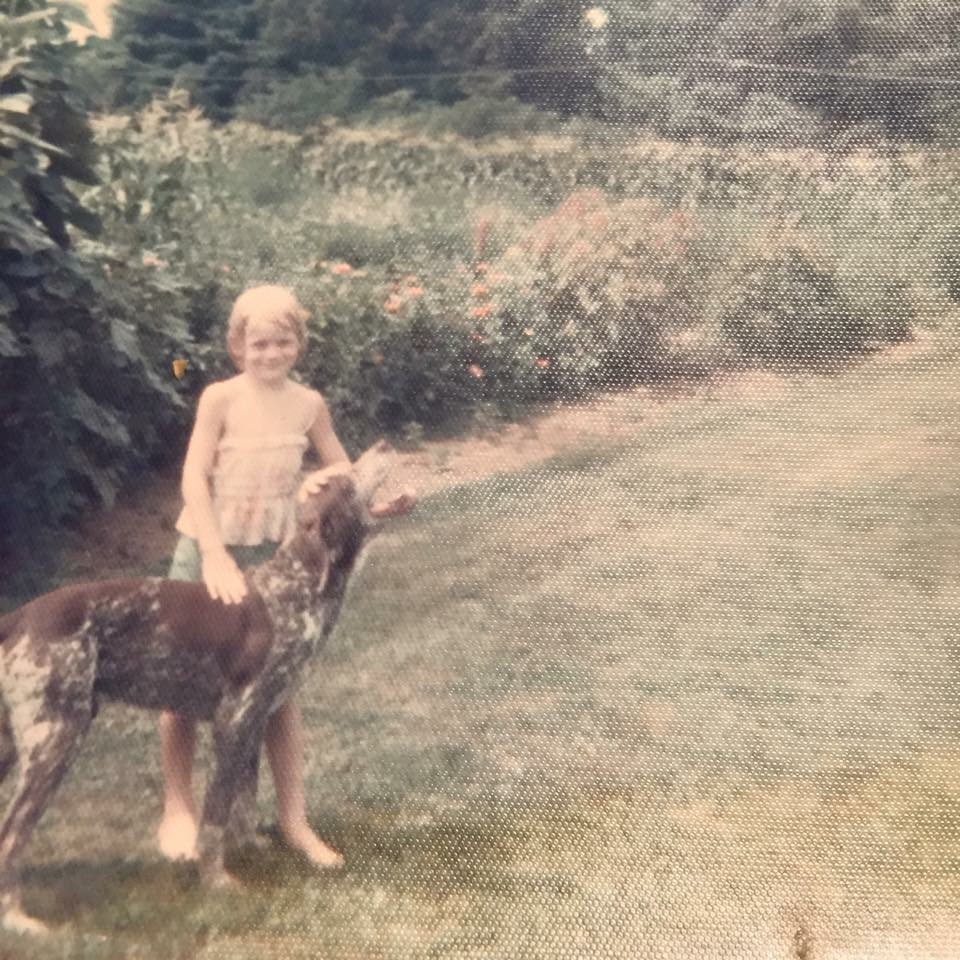 Young Jennifer with her trusty pal Spot.