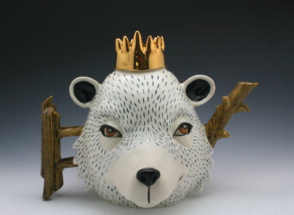 Bear King,  H9''xW13''xL9'', porcelain, under glaze, glaze and luster.JPG